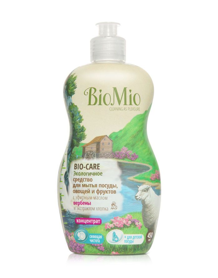BioMio BIO-CARE Экологичное средство для мытья посуды, овощей и фруктов с эф.маслом ВЕРБЕНЫ, экстр. ХЛОПКА и ионами СЕРЕБРА. Кон
