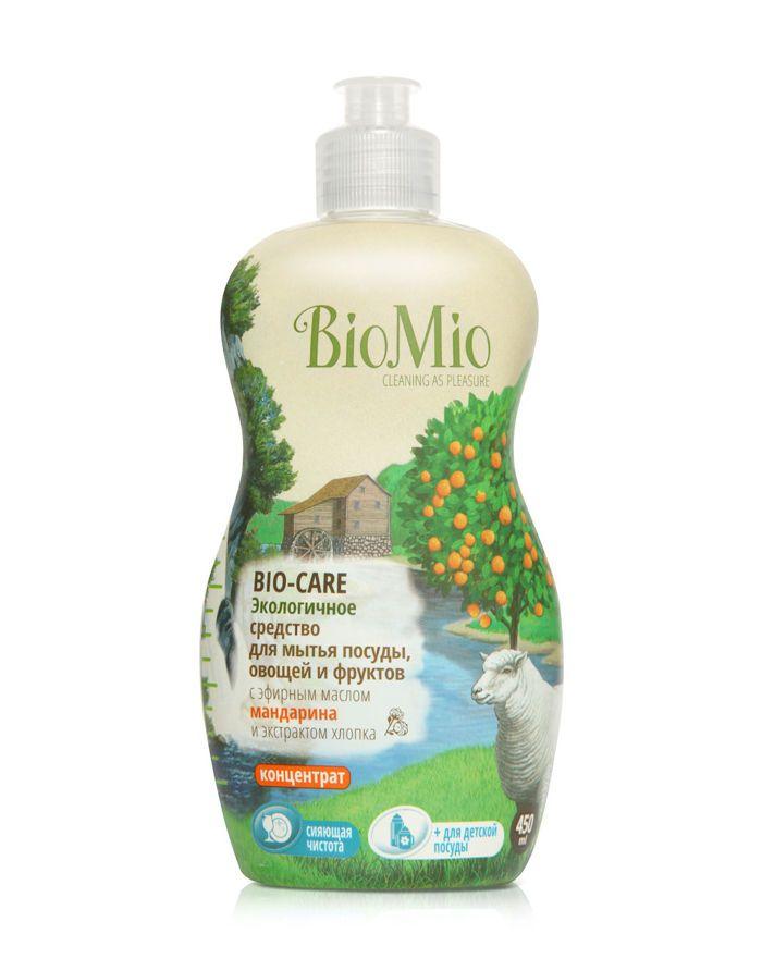 BioMio BIO-CARE Экологичное средство для мытья посуды, овощей и фруктов с эф.маслом МАНДАРИНА, экстр. ХЛОПКА и ионами СЕРЕБРА. К