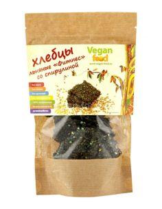 Vegan food Хлебцы льняные Фитнес со спирулиной 100гр
