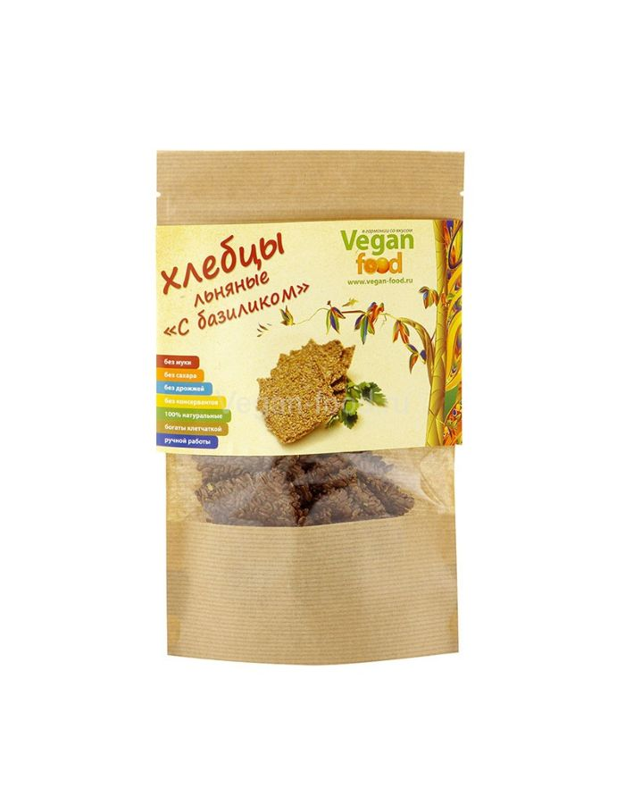 Vegan food Хлебцы льняные С базиликом 100гр